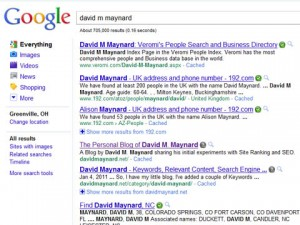 Site Ranking of #4 for Keyword - David M. Maynard